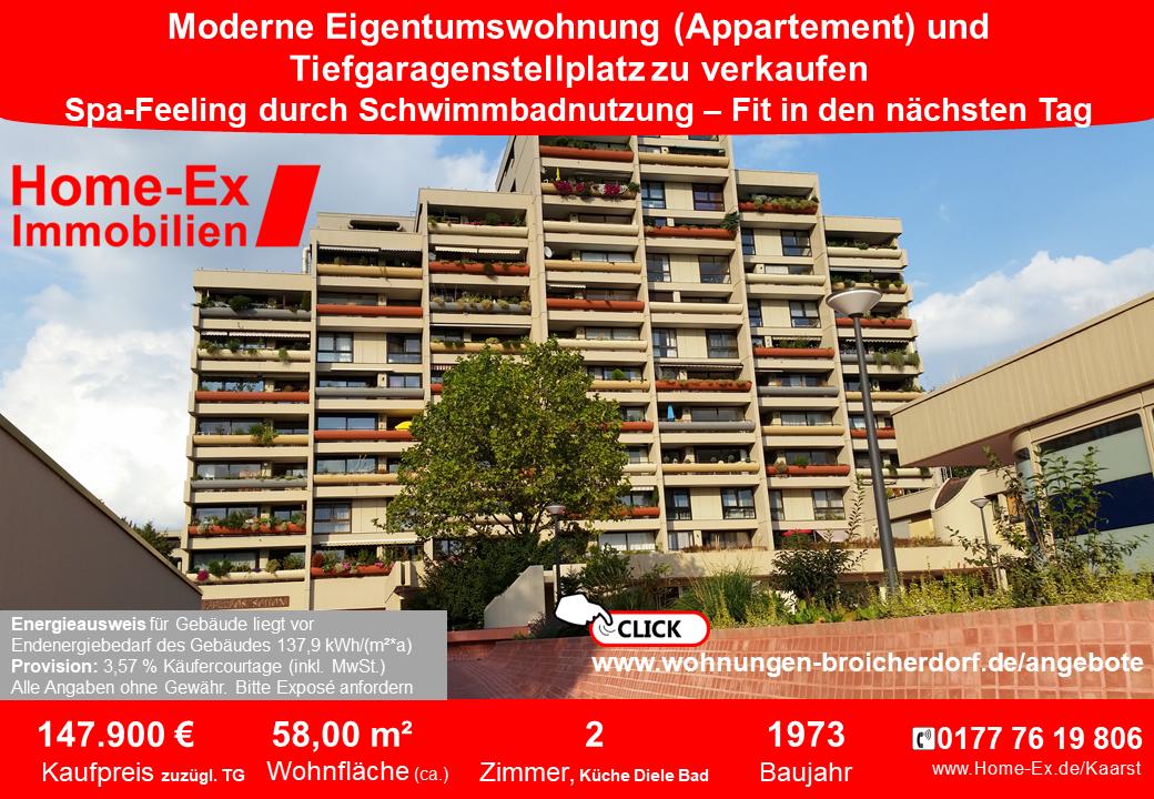 Eigentumswohnung zu verkaufen im Wohnpark Broicherdorf Kaarst ca. 58m2, 2 Zimmer, Küche, Diele, Bad sowie Tiefgaragenstellplatz - Bezug ab 1.1.2020 - Kaufpreis 147.900 € plus Tiefgaragenstellplatz 7.500 €zuzüglich 3,57 % Käufercourtage inkl. MwSt., Energieausweis vorhanden.